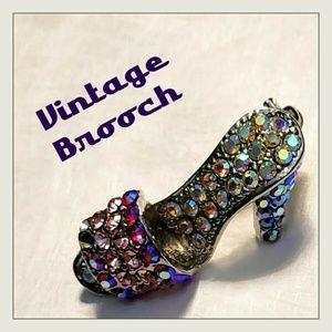 Vintage AB Crystal Silver Tone High Heeled Brooch
